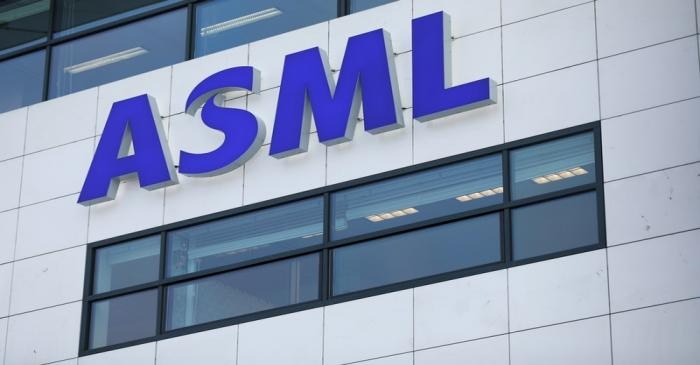 FILE PHOTO: ASML Holding logo is seen at company's headquarters in Eindhoven