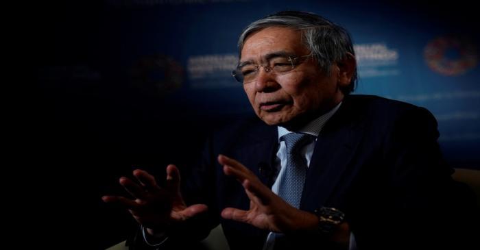 Bank of Japan (BOJ) Governor Haruhiko Kuroda, speaks during an interview with Reuters in