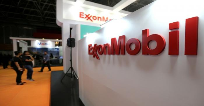 FILE PHOTO: Logo of Exxon Mobil Corp is seen at the Rio Oil and Gas Expo and Conference in Rio