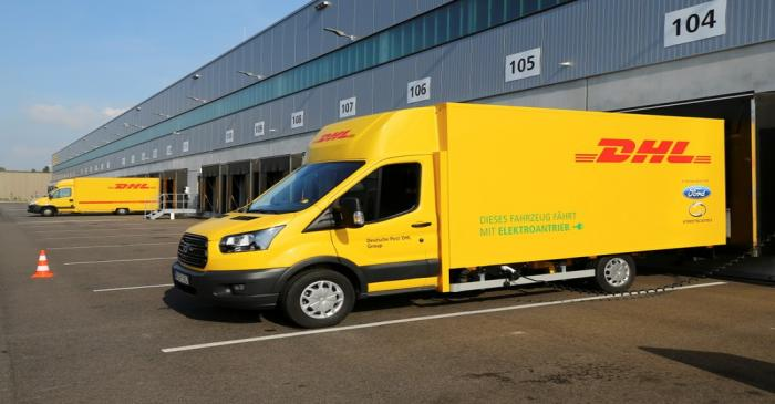 Deutsche Post DHL StreetScooter Work XL electric van seen during presentation in Cologne