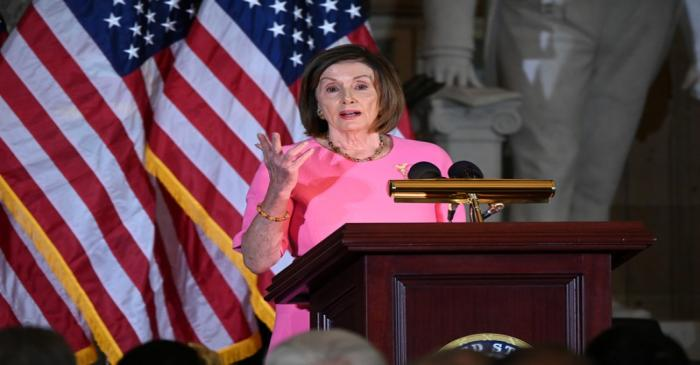 Speaker of the House Pelosi speaks at the unveiling of the congressional portrait of Former
