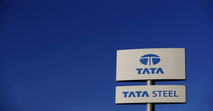 FILE PHOTO: Company logo seen outside the Tata steelworks near Rotherham in Britain