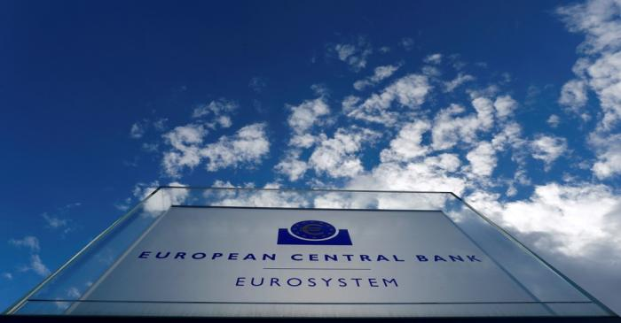 FILE PHOTO: Sign of the European Central Bank (ECB) is seen ahead of a news conference on the