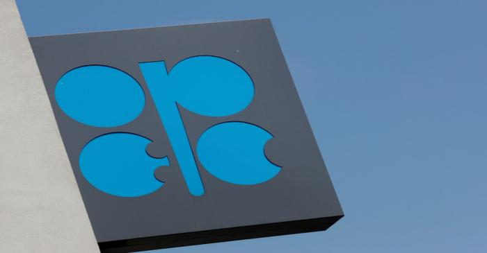 FILE PHOTO: The logo of the Organisation of the Petroleum Exporting Countries (OPEC) is seen at