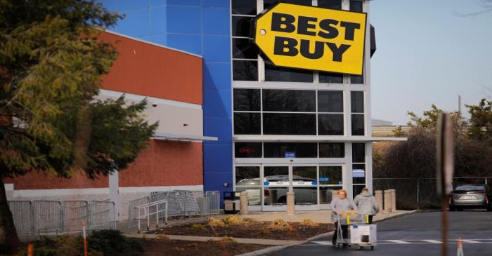 A sign marks a Best Buy store in Burlington