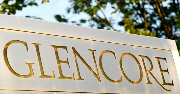 FILE PHOTO: The logo commodities trader Glencore is pictured in Baar