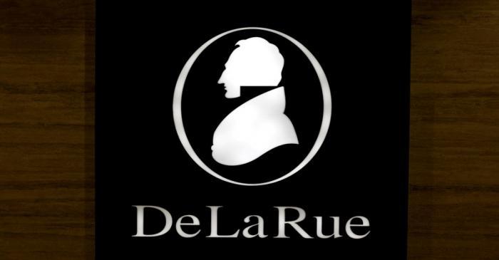 FILE PHOTO: The corporate logo of De La Rue is seen at De La Rue Malta at Bulebel Industrial