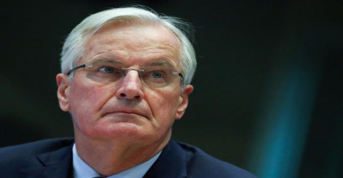 The European Union's Brexit negotiator Barnier addresses the European Economic and Social
