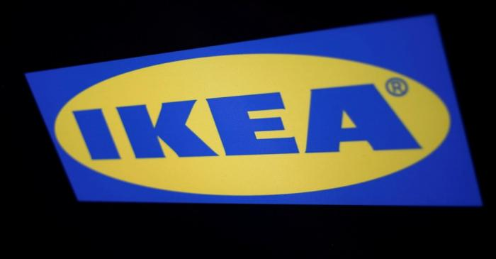 FILE PHOTO: The logo of the Swedish furniture giant IKEA is seen in Mexico City