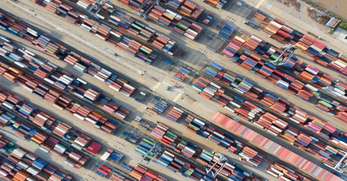 FILE PHOTO: Containers are seen at a port in Ningbo, Zhejiang