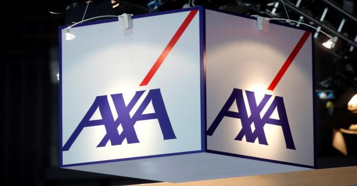 FILE PHOTO: Logo of Axa t is seen at VivaTech fair in Paris