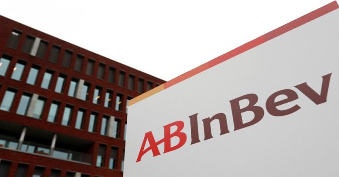 FILE PHOTO: The logo of AB InBev outside the brewer's headquarters in Leuven