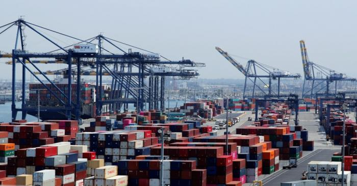 Ship and containers are shown at the port of Los Angeles in Los Angeles, California,
