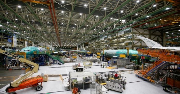FILE PHOTO: Several Boeing 777X aircraft in various stages of production