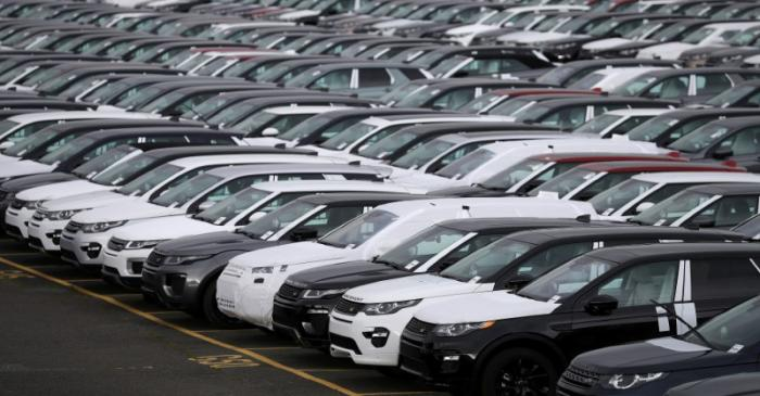FILE PHOTO: New Land Rover cars are seen in a parking lot at the Jaguar Land Rover plant at