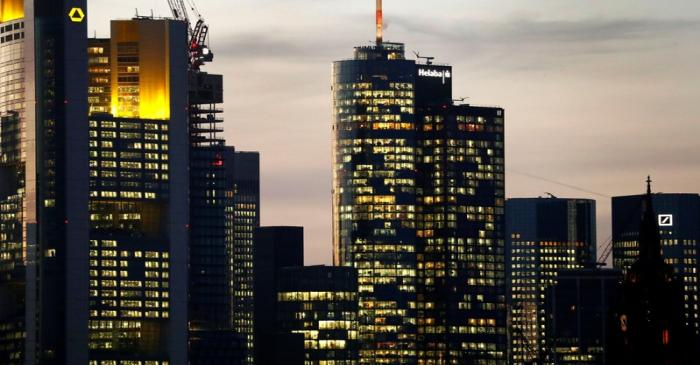 FILE PHOTO: The skyline with its financial district is photographed in the early evening in