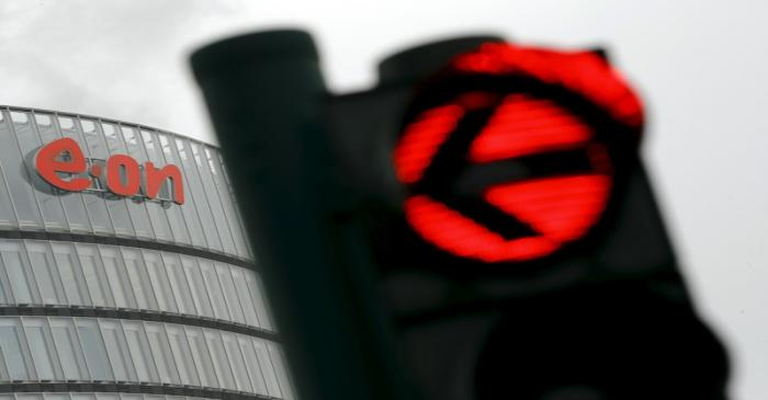 A traffic light is pictured outside the headquarters of E.ON Climate and Renewables in Essen