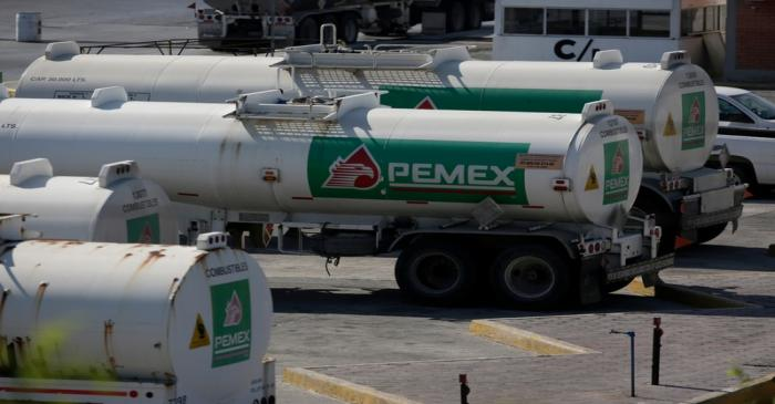 Tanker trucks of Mexican state oil firm Pemex's are pictured at Cadereyta refinery in Cadereyta