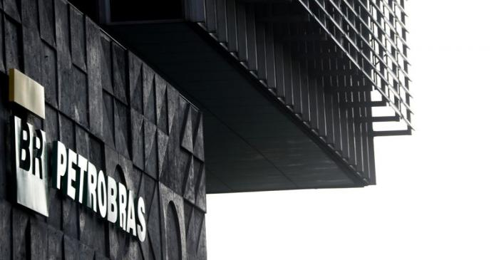 FILE PHOTO: A logo of Brazil's state-run Petrobras oil company is seen at their headquarters in