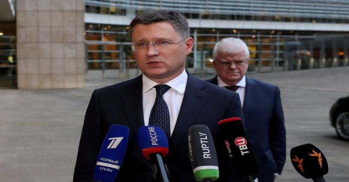 FILE PHOTO: Russian Energy Minister Alexander Novak speaks with the media outside the EU