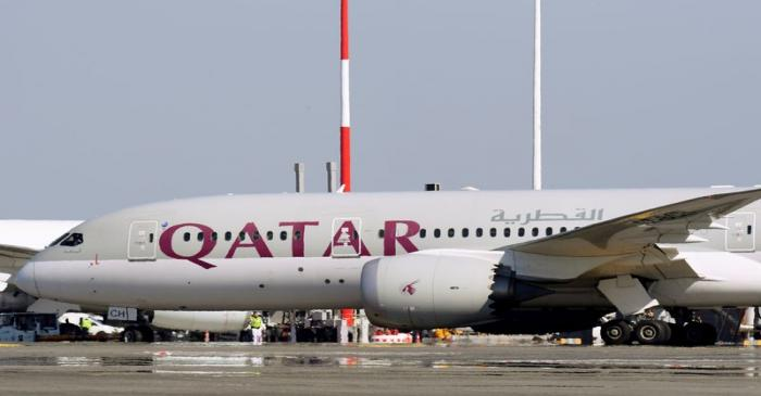 FILE PHOTO: A Qatar Airways Boeing 787 airplane is pictured at Leonardo da Vinci-Fiumicino