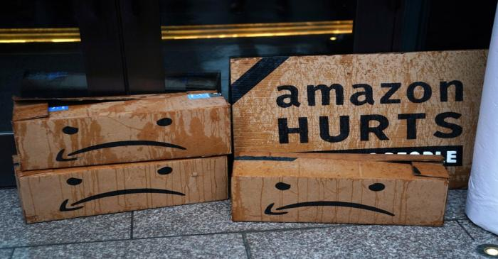 A rally against Amazon and their business practices in the Manhattan borough of New York City