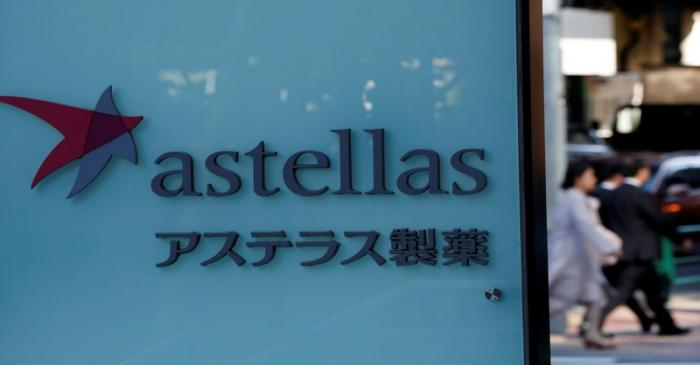 Astellas Pharma's logo is pictured at its headquarters in Tokyo