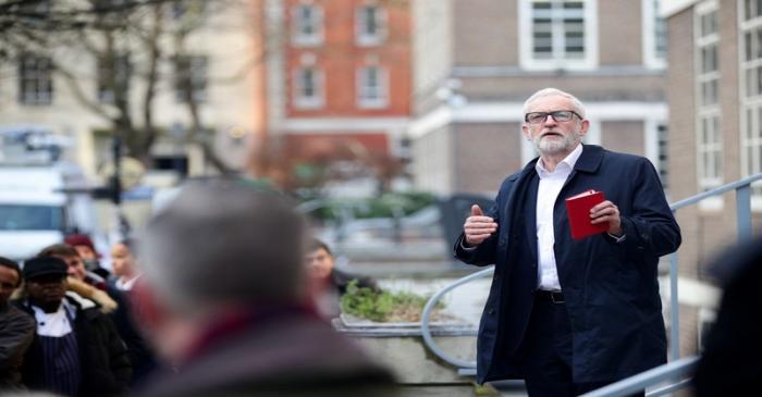 Britain's opposition Labour Party leader Jeremy Corbyn speaks outside University of London, in