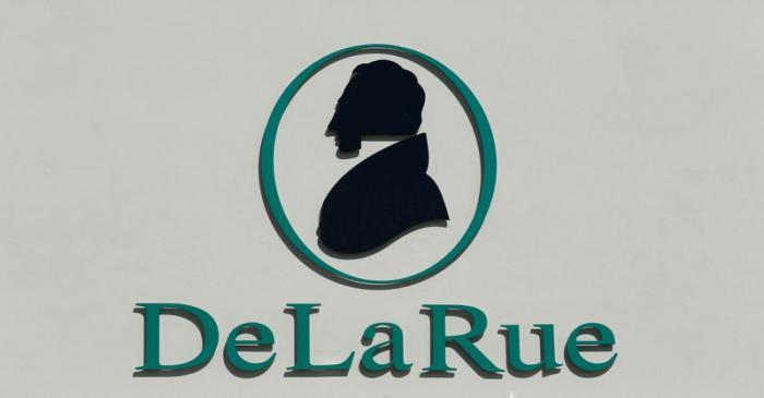 FILE PHOTO: The corporate logo of De La Rue is seen at De La Rue Malta at Bulebel Industrial