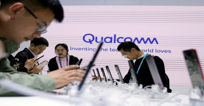 A Qualcomm sign is seen at the second China International Import Expo (CIIE) in Shanghai