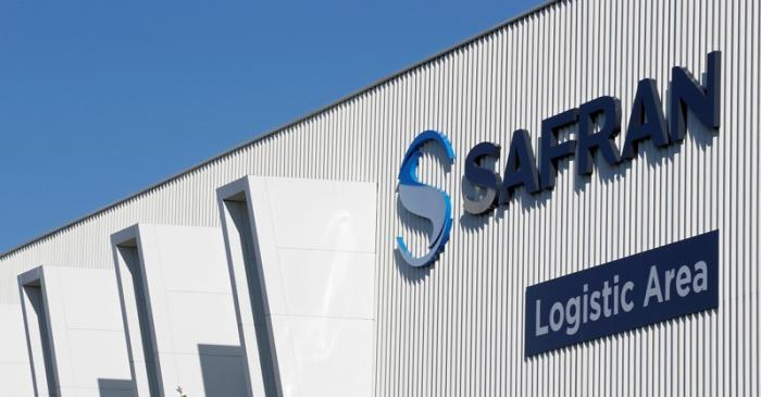 FILE PHOTO: The Safran company logo is pictured at the company's logistic area in Colomiers
