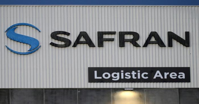 FILE PHOTO: The Safran logo is pictured at the company's logistic area in Colomiers, near