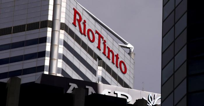 FILE PHOTO: A sign adorns the building where mining company Rio Tinto has their office in