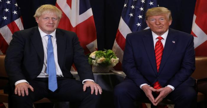 FILE PHOTO - U.S. President Trump meets with British Prime Minister Johnson on sidelines of