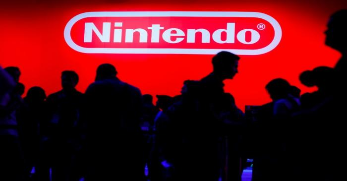 A display for the gaming company Nintendo is shown during opening day of E3, the annual video