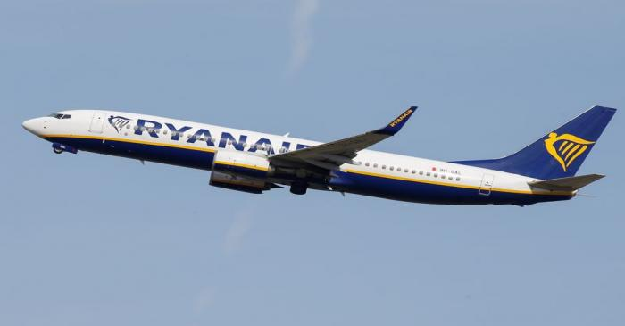 A Ryanair aircraft takes off at the aircraft builder's headquarters of Airbus in Colomiers near