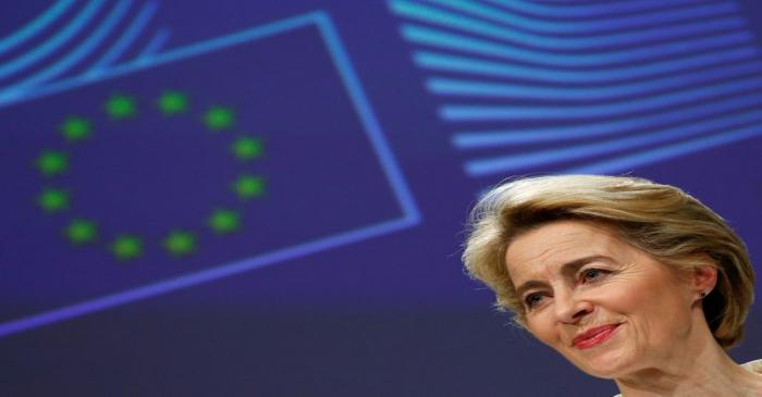 European Commission President Ursula von der Leyen briefs the media after the first meeting of