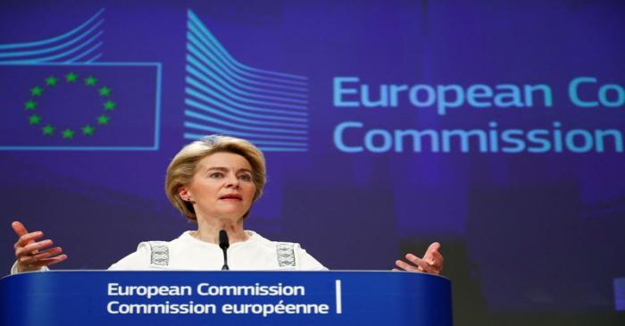 European Commission President Ursula von der Leyen briefs the media after the first meeting of