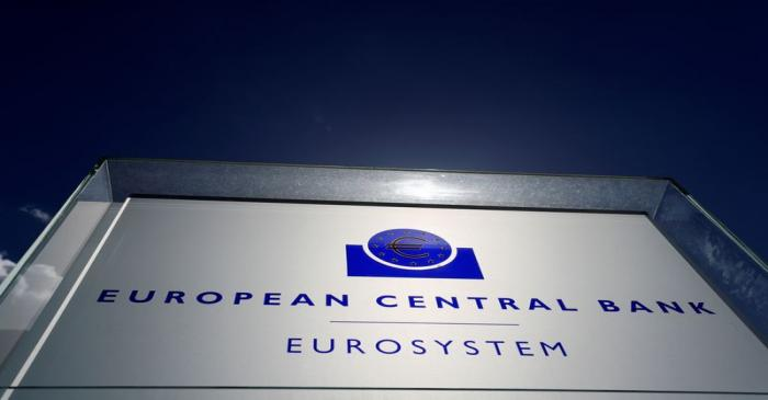 FILE PHOTO: The logo of the European Central Bank (ECB) is pictured outside its headquarters in