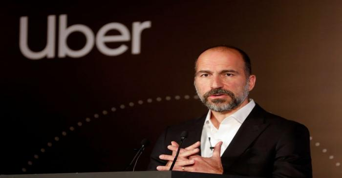 Uber CEO Dara Khosrowshahi speaks to the media at an event in New Delhi
