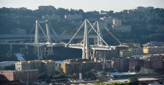 FILE PHOTO: General view of Morandi Bridge, before controlled explosions will demolish two of