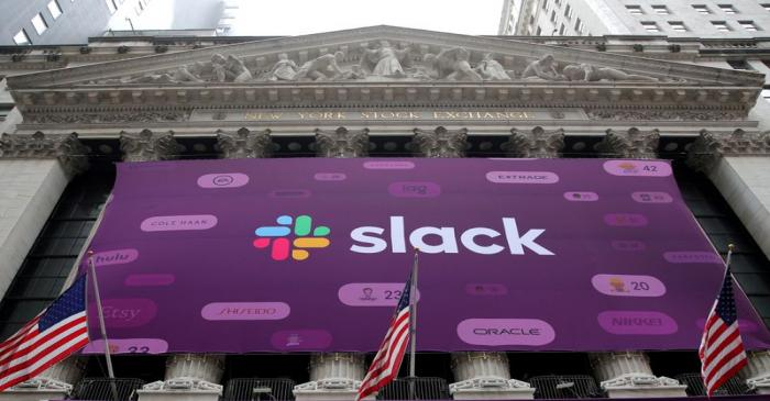 FILE PHOTO: The Slack Technologies Inc. logo is seen on a banner outside the New York Stock