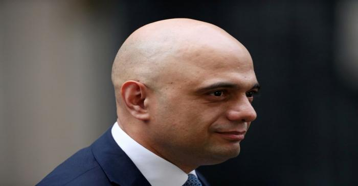Britain's Chancellor of the Exchequer Sajid Javid is seen at Downing Street in London