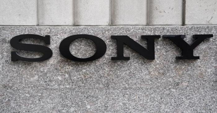 The Sony logo is seen on a building in the Manhattan borough of New York City