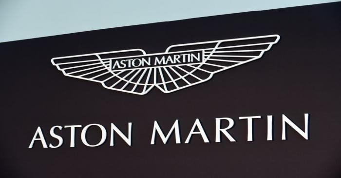 An Aston Martin logo is pictured at the new factory in Saint Athan