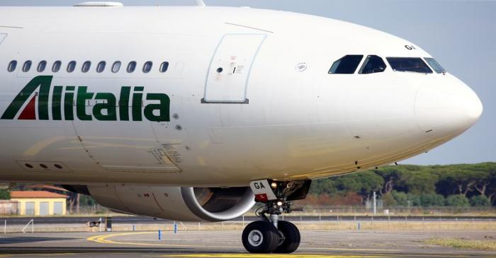 FILE PHOTO: An Alitalia airplane is seen before take off from the Leonardo da Vinci-Fiumicino