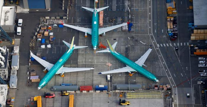 FILE PHOTO: An aerial photo shows Boeing 737 MAX airplanes parked on the tarmac at the Boeing