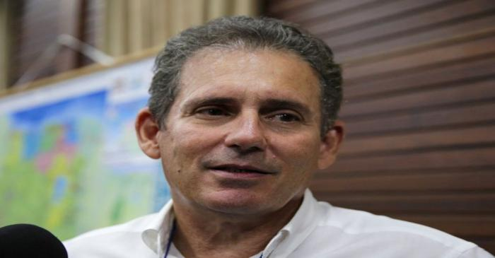 Rudolf Elias, director of Suriname's state-owned oil company Staatsolie, talks to the media