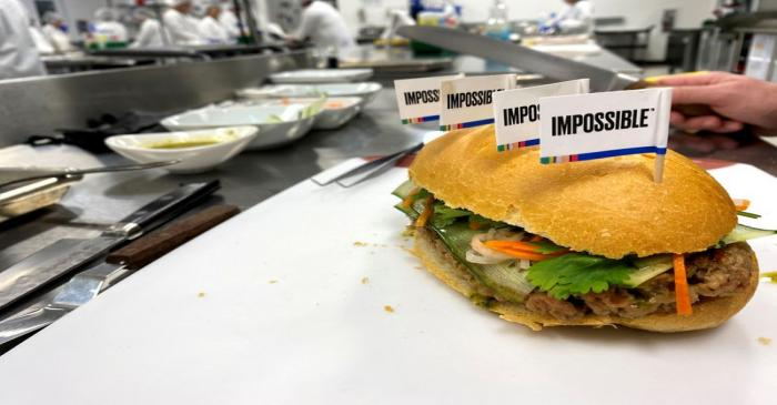 A banh mi sandwich made with a plant-based Impossible Pork patty at the Impossible Foods