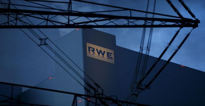 The logo of RWE, one of Europe's biggest electricity and gas companies is seen at block F/G of